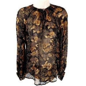 Ella Moss Sheer Floral Silk Blouse Top Gold Black